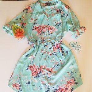 Gorgeous Button Front Tie Waist Dress